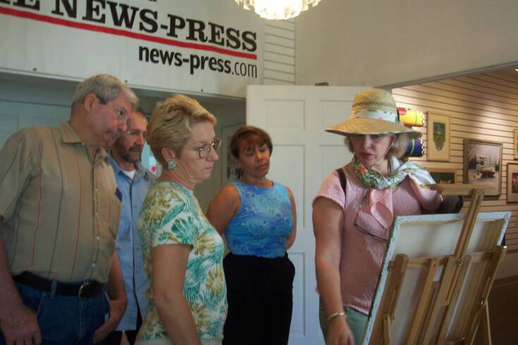 With students at the Cape Coral Art League